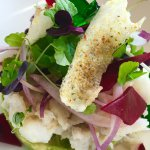 Blue summer snapper crab salad