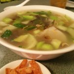 Beef Noodle Soup, Pork,Shrimp and Egg Dumplings, Beef Stirfry with Carrot and Onion and Green On