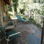 This is one side of the patio for our cabin. It overlooked the creek.