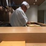 where we were sitting at, view of Chef Yasuda