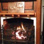 Open fireplace in lounge