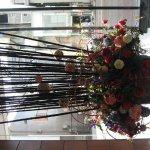 Hotel entrance flower display