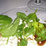 Spinach with carmelized pear, blue cheese and chocolate vinaigrette salad