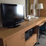 TV, microwave and nice desk