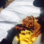 Breakfast in bed, Scrambled eggs, toast, bacon, hashbrowns