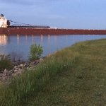 View from Campground, largest ship on Great Lakes.