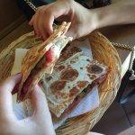 .pia (bread) with parma ham, grilled zucchini and mozarella