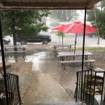 Outside seating area on a rainy day