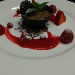 Chocolate Mousse with Perthshire Berries....Cornfed Chicken with Pea,Broad Bean and Pancetta Bar
