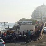 The biggest queue for the best fish and chips EVER!