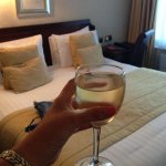 Large wine and bed!