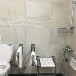 Showing accessible features such as grab rails and shower seat.