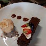 Baked pave of 70% Valrhona chocolate Salted caramel ice cream,