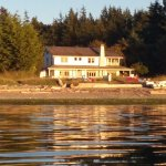 Sunset view of the inn from our kayak