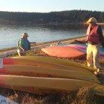 The inn's kayaks ready for use