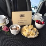 Warm homemade shortbread, freshly brewed coffee and cherries with unlimited champagne to follow