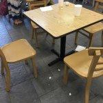 Dirty tables, floors.