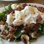 Spinach and bacon salad with warm feta cheese! Excellent!
