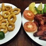 Calamares (275.00- size of a cheese ring) and chorizo (295.00)
