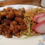 Combination Plate #4, Chicken W/Spicy & Sweet Garlic Sauce, Chicken Chow Mein, BBQ Pork
