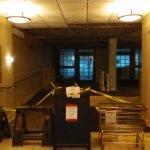 The torn apart lobby.