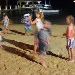 Kids beach run at night