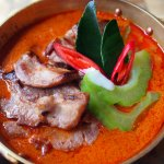 Grilled Iberico Pork Collar with Bittergourd in Thick Red Curry