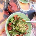 Salmon salad and strawberry juice