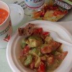 Avocado and tomato salad with fresh juice