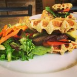 Vegetable Stack Sandwich and salad