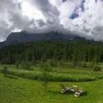 The beautiful meadow and mountain backdrop