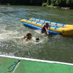 after the banana boat ride...jumping into the lake