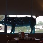 Lighted blue pig decor