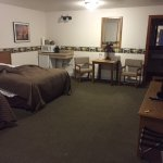 Large room with refrigerator, microwave, cable television, etc.