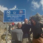 Us and our guide, Carlos, at the top of Salkantay.