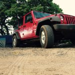 The red Jeep at our campsite.