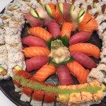 Rainbow roll,New Orleans roll,salmon avocado roll,tuna avocado roll.