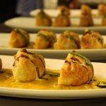 Baked samosas served with Dhal and 4 chutneys