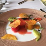 One of six taster menu courses. Tomato and peppers and flavour.