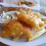 Cod and chips, coleslaw, zucchini sticks