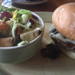 Burger and lovely jicama, craisen, grape and mango salad