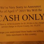 Cash Only notice to customers
