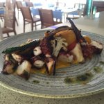 Octopus with carrot puree & grilled vegetables