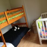 Family room with bunk beds for our two oldest (6 & 4) and babybed for our 3 month old
