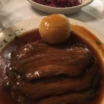 Sauerbraten, knödel, red cabbage