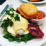 My Eggs Benedict Deluxe aka Eggs Hollandaise with bacon, salmon, hash browns and baked beans.