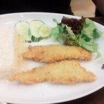 ข้าวและปลาทอดจานโต