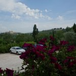 Ample parking, and views of the Tuscan hills