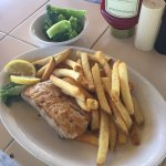 Mahi-mahi fish, grilled, dinner side. It was okay. The fish was plain. It needed more time on th