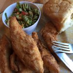 Chicken tenders, roll and cold pasta salad